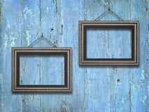 Viejos marcos de madera en fondo de madera del vintage Foto de archivo