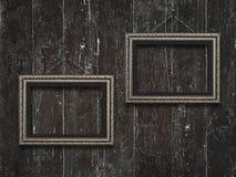 Viejos marcos de madera en fondo de madera del vintage Imagenes de archivo