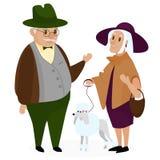 Viejos pares del peple con un caniche del perro Abuelos felices juntos aislados libre illustration