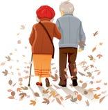 Viejos pares en el amor que camina en Autumn Decor Vector Fotografía de archivo libre de regalías