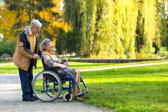 Viejos pares en el parque Imagen de archivo libre de regalías