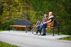 Viejos pares en el parque Fotografía de archivo libre de regalías