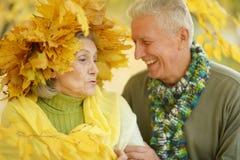 Viejos pares en el parque del otoño Imagen de archivo