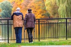 Viejos pares en el parque en otoño Fotografía de archivo libre de regalías