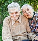 Viejos pares mayores felices y alegres Imagen de archivo libre de regalías