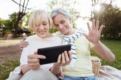 Viejos pares optimistas usando la tableta en el parque Fotos de archivo