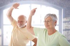 Viejos pares que hacen ejercicios Fotos de archivo libres de regalías