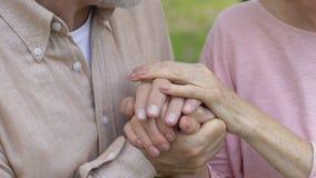 Viejos pares que llevan a cabo las manos, mujer que junta la cabeza en el hombro del hombre, feliz metrajes