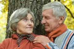 Viejos pares que presentan en el parque del otoño Imagen de archivo libre de regalías