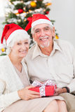 Viejos pares sonrientes que intercambian los regalos de la Navidad Foto de archivo libre de regalías
