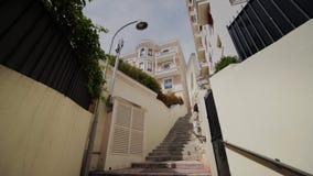 Viejos pasos estrechos en las calles en Mónaco y los caminos con los coches en Monte Carlo almacen de video