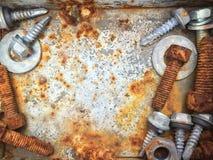 Viejos pernos oxidados, acero, nueces fotografía de archivo libre de regalías