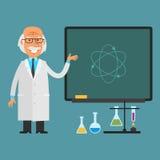 Viejos puntos del científico a la pizarra ilustración del vector