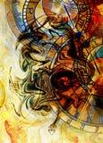 Viejos reloj y collage del zodiaco Fondo abstracto del color Imágenes de archivo libres de regalías