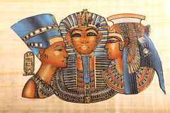Viejos reyes egipcios y arte de la reina en el papiro imagenes de archivo