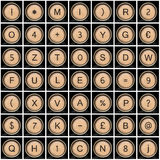 Viejos símbolos de la máquina de escribir (alfabeto) Foto de archivo libre de regalías