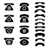 Viejos símbolos negros del teléfono y del receptor Fotos de archivo libres de regalías