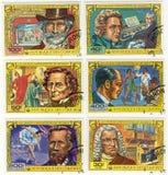 Viejos sellos de la república de Comores Imágenes de archivo libres de regalías