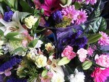 Viel blüht frischer attraktiver bunter Blumenstrauß auf Anzeige Lizenzfreies Stockfoto