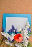 Viel blaue Traubenhyazinthe, weiße Chrysantheme und rote Tulpe offen stockfotografie