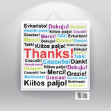 Viel Dank in vielen Sprachen Stockfoto