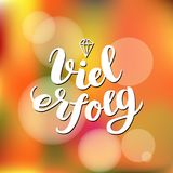 Viel Erfolg. I wish you success in German. Typographic design on colorful background. Greeting card with quote. Vector. Illustration Royalty Free Stock Image