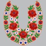 Viel-farbiges Blumenmuster in Form des Hufeisens stock abbildung
