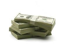 Viel Geld auf einem weißen Hintergrund Stockbild