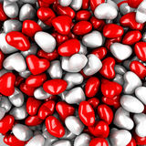 Viel glatter Valentine Hearts Red Background Stockfoto