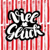 Viel Glueck Goed geluk in het Duits Typografisch ontwerp op kleurrijke leuke achtergrond Groetkaart met citaat Bruikbaar zoals royalty-vrije illustratie