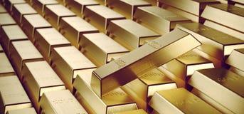 Viel Gold graviert Bars im Schatz-Raum mit reflektiertem Ligh Lizenzfreie Stockfotos
