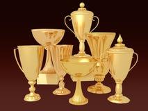 Viel Goldcup für den Sieger Stockfoto