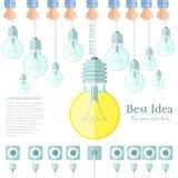 Viel Lampen- oder Glühlampenlicht weg und nur ein Licht an mit Stecker und Sockel flachem Hintergrund Idee Lizenzfreie Stockbilder