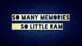 So viel memories_so wenig RAM lizenzfreie stockbilder