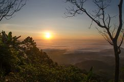 Viel Nebel und Sonnenaufgang hinter dem Berg Stockfotos