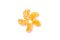 Viel orange Formweißhintergrund Stockfotos