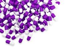 Viel purpurrote und weiße Kapsel Stockbilder