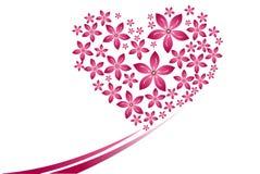 Viel rosa Blumenherzform auf dem weißen Hintergrund Stockbilder
