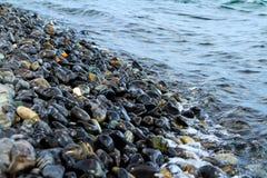 Viel schöner Kiesel und kleine Welle mit dem Meer Stockfotografie