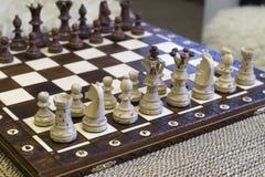 Viel stellt Schachstück Stellung auf Schachvorstand dar Lizenzfreie Stockfotos