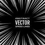 Viel weiße komische Radialgeschwindigkeit zeichnet auf schwarzer Basis Explosion Lizenzfreies Stockfoto