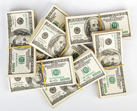 Viele Bündel US 100 Dollar Banknoten Stockfoto