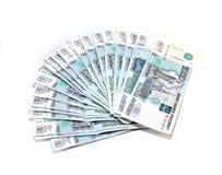 Viele Banknoten der russischen Rubel Lizenzfreie Stockfotos