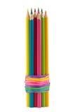 Viele Bleistifte gebunden mit Gummiband Lizenzfreies Stockfoto