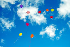 Viele bunten baloons Stockfotos