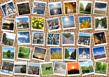 Viele bunten Fotos auf dem Rausschmiß Stockfotos