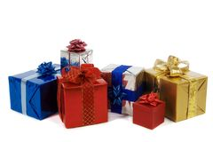 Viele bunten Geschenke Stockfoto