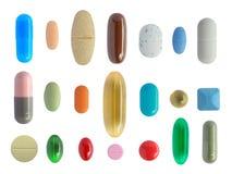 Viele bunten Pillen stockbilder