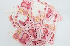 viele chinesischen 100 Anmerkungen RMB Yuan Stockfotografie