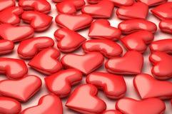 Viele 3d vervollkommnen Herzen Stockfoto